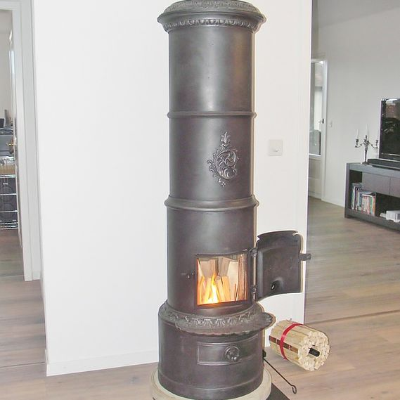 Danish-style cast-iron stove in wide open space