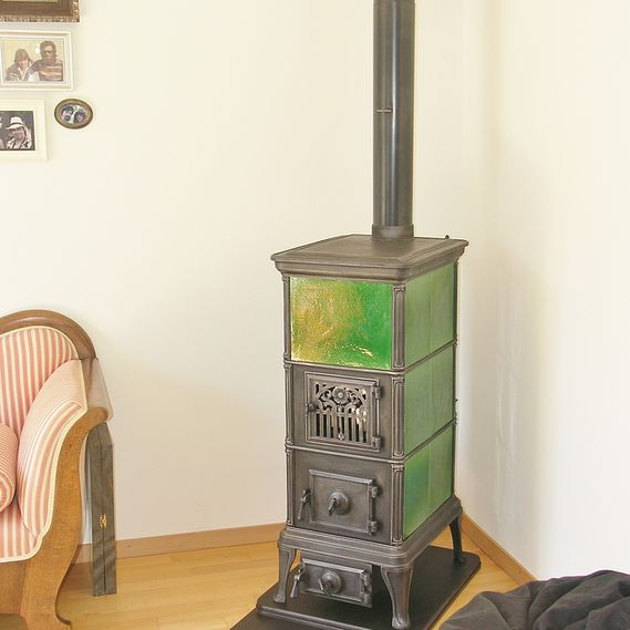 Freestanding tiled stove circa 1920 from former stove manufacturer Klus, von Roll Balsthal