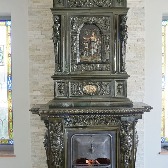 German tiled stove circa 1880 refurbished for decorative purposes