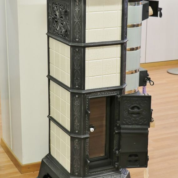 MAL freestanding tiled stove no. 1416 with creamy white tiles