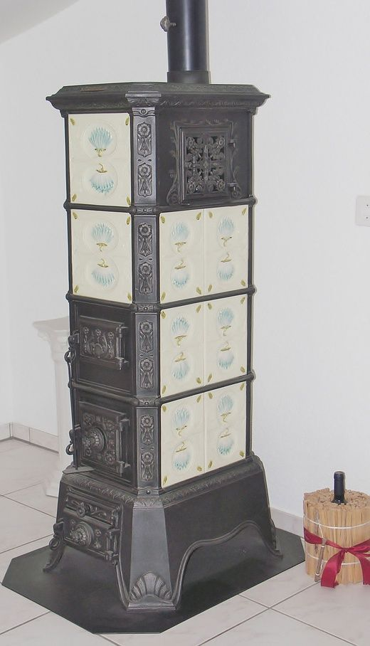 Freestanding tiled stove from former foundry Klus, von Roll Balsthal