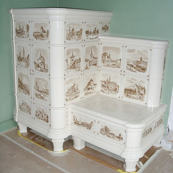 Refurbished hand-painted tiled stove